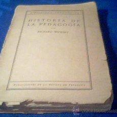 Libros antiguos: HISTORIA DE LA PEDAGOGIA. RICHARD WICKERT. MADRID 1930. PUBLICACIONES DE LA REVISTA DE PEDAGOGIA. Lote 26717714