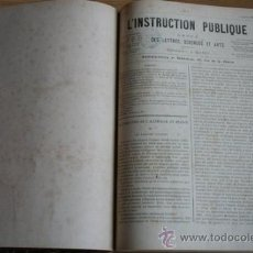 Libros antiguos: L'INSTRUCTION PUBLIQUE. REVUE DES LETTRES, SCIENCES ET ARTS. . Lote 24330816