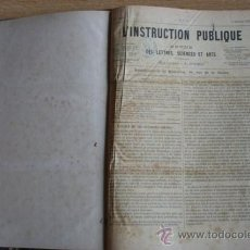 Libros antiguos: L'INSTRUCTION PUBLIQUE. REVUE DES LETTRES, SCIENCES ET ARTS. . Lote 24330819
