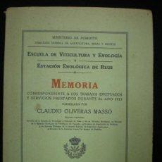 Libros antiguos: LIBRO. ENOLOGÍA. MEMORIA. ESCUELA DE VITICULTURA Y ENOLOGÍA. ESTACIÓN ENOLÓGICA DE REUS. 1921.. Lote 26868375