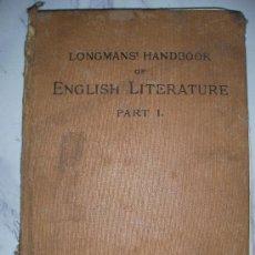 Libros antiguos: ANTIGUO LIBRO LITERATURA INGLESA TOMO I. Lote 25315674