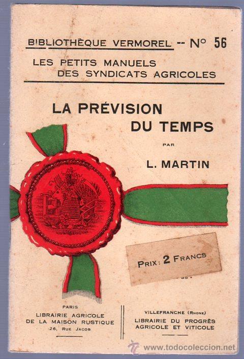 LA PREVISION DU TEMPS POR L.MARTIN (Libros Antiguos, Raros y Curiosos - Cocina y Gastronomía)