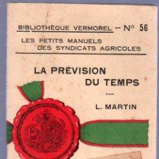 Libros antiguos: LA PREVISION DU TEMPS POR L.MARTIN. Lote 25405843