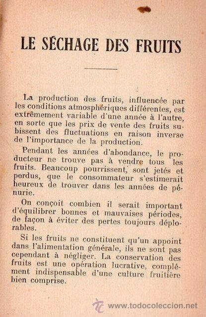 Libros antiguos: SECHAGE DES FRUITS ET DES LEGUMES POR H.SIBILON - Foto 4 - 25403120