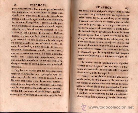 Alte Bücher: IVANHOE. REGRESO A PALESTINA - WALTER SCOTT 1831 TOMO I DE UN CLASICO - Foto 3 - 25568325