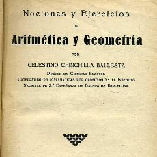 Libros antiguos: CHINCHILLA : NOCIONES DE ARITMÉTICA Y GEOMETRÍA (1932). Lote 25812542