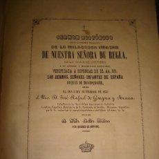 Libros antiguos: NUESTRA SEÑORA DE REGLA. CHIPIONA - CADIZ . EXCEPCIONAL DOCUMENTO 1852. Lote 25876638
