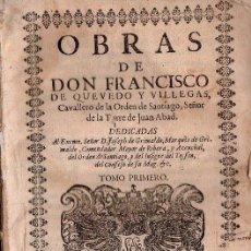 Libros antiguos: OBRAS POSTUMAS Y VIDA DE QUEVEDO. 1724 - 3 TOMOS. INENCONTRABLES. Lote 25920356