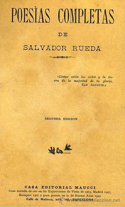 Libros antiguos: SALVADOR RUEDA : POESÍAS COMPLETAS (1912) - Foto 2 - 25954467