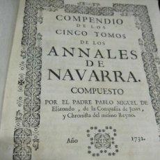 Libros antiguos: ANNALES DE NAVARRA. COMPENDIO 5 TOMOS 1732 - PAMPLONA. Lote 26060337