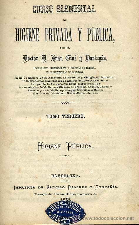 Libros antiguos: GINÉ Y PARTAGÁS : HIGIENE PÚBLICA (1872) - Foto 2 - 26223320