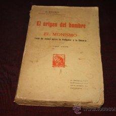 Libros antiguos: 1432- SINGULAR LIBRO EL ORIGEN DEL HOMBRE- EL MONISMO ERNESTO HAECKEL. EDIT F. GRANADA. S/F. Lote 26561223