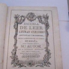 Libros antiguos: LIBRO ANTIGUO.1780. ESCUELA PALEOGRAPHICA O DE LEER LETRAS ANTIGUAS. ANDRÉS MERINO DE JESUCRISTO.. Lote 26616923
