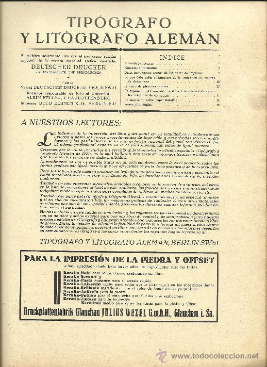 Libros antiguos: L15-16 EL TIPOGRAFO Y LITOGRAFO ALEMAN - Edicion Española de 1926 - Publicacion Anual (VER) - Foto 3 - 27077729