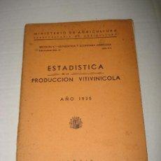 Libros antiguos: ESTADISTICA PRODUCCION VITIVINICOLA SUBSECRETARIA DE AGRICULTURA . REPUBLICA ESPAÑOLA DEL AÑO 1935.. Lote 27305467
