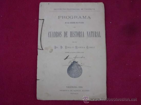 PROGRAMA CUADROS DE HISTORIA NATURAL, VALENCIA AÑO 1894. INSTITUTO PROVINCIAL. P 24 (Libros Antiguos, Raros y Curiosos - Ciencias, Manuales y Oficios - Otros)