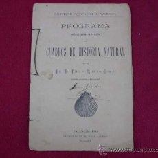 Libros antiguos: PROGRAMA CUADROS DE HISTORIA NATURAL, VALENCIA AÑO 1894. INSTITUTO PROVINCIAL. P 24. Lote 27316702