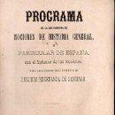 Libros antiguos: PROGRAMA DE NOCIONES DE HISTORIA GENERAL Y PARTICULAR DE ESPAÑA - SANTIAGO, 1876. Lote 27346705