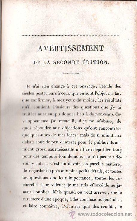 Libros antiguos: ESSAIS SUR LE HISTOIRE DE FRANCE POR GUIZOT.9º EDICION - EDITOR FRERES, PARIS 1833 - Foto 3 - 27367582
