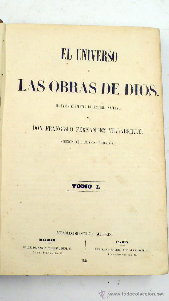 Libros antiguos: el universo o las obras de diós. Francisco Fernandez villabrielle, tomo 1. año 1854. 18x27 cm - Foto 4 - 27720657