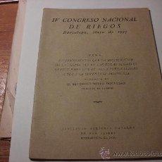 Libros antiguos: IV CONGRESO NACIONAL DE RIEGOS, BARCELONA 1927, SEVERINO BELLO. L.36-710. Lote 27805626