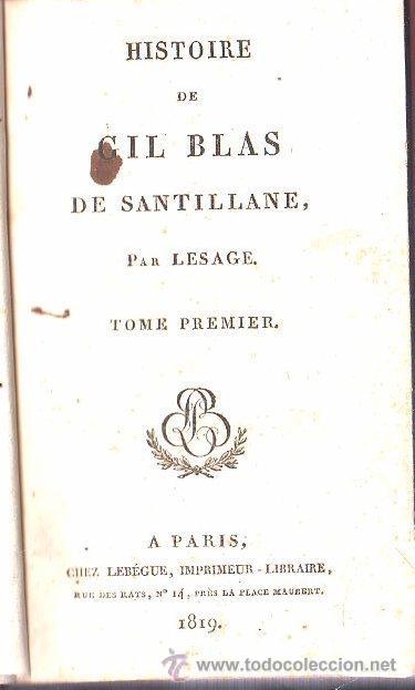 1819,HISTORIA DE GIL BLAS DE SANTILLANA,EN FRANCÉS,PARÍS,6 TOMOS,PASTA ESPAÑOLA,PERFECTOS (Libros Antiguos, Raros y Curiosos - Otros Idiomas)