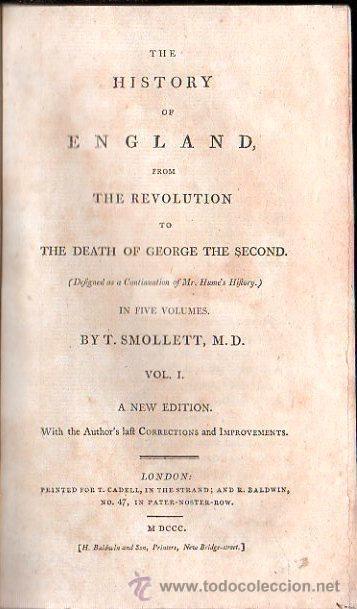 1800,HISTORIA DE INGLATERRA Y DE SU REVOLUCIÓN,MUERTE DE JORGE II,EN INGLÉS,5 TOMOS,BUENA OBRA (Libros Antiguos, Raros y Curiosos - Otros Idiomas)