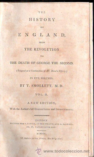 Libros antiguos: 1800,Historia de Inglaterra y de su Revolución,Muerte de Jorge II,en inglés,5 tomos,buena obra - Foto 2 - 28133408