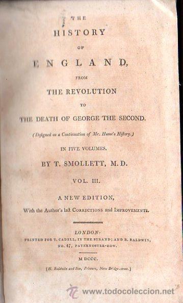 Libros antiguos: 1800,Historia de Inglaterra y de su Revolución,Muerte de Jorge II,en inglés,5 tomos,buena obra - Foto 4 - 28133408