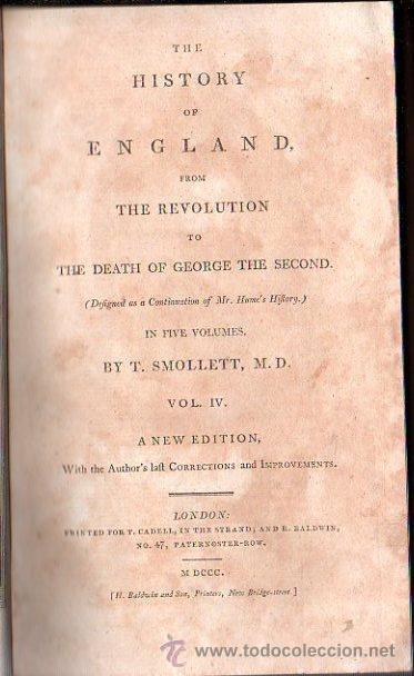 Libros antiguos: 1800,Historia de Inglaterra y de su Revolución,Muerte de Jorge II,en inglés,5 tomos,buena obra - Foto 5 - 28133408