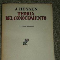Libros antiguos: J. HESSEN: TEORÍA DEL CONOCIMIENTO, MADRID, 1936. FILOSOFÍA. Lote 28308672
