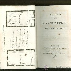 Libros antiguos: LETTRES SUR INGLATERRE. STAEL HOLSTEIN. PARIS. 1825. 428 PAGINAS. . Lote 28328904