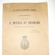 Libros antiguos: 1917 CONFERENCIA DE MIGUEL DE UNAMUNO CONTRA LA AUTONOMÍA DOCENTE. Lote 28451809