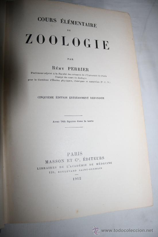 Libros antiguos: 0109- ZOOLOGIE. RÉMY PERRIER. 1912 - Foto 2 - 28475169