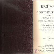 Libros antiguos: RESUMEN DE AGRICULTURA – AÑO 1892. Lote 28732922