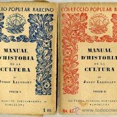 Libros antiguos: J. LLEONART : HISTÒRIA DE LA CULTURA -DOS VOLUMS. (1928) - COLECCIÓN BARCINO. EN CATALÁN. Lote 28763998