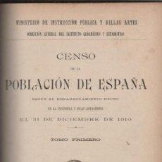 Libros antiguos: CENSO DE LA POBLACION DE ESPAÑA MADRID 1913 (TOMO PRIMERO). Lote 28886799