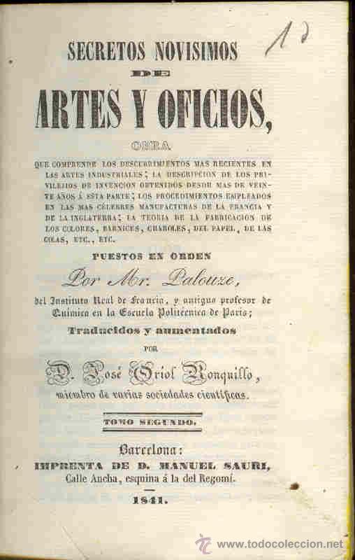 Libros antiguos: 1841: Secretos Novísimos de Artes y Oficios - Foto 2 - 29108820