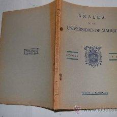 Libros antiguos: ANALES DE LA UNIVERSIDAD DE MADRID. LETRAS. 1933. TOMO II. FASCÍCULO 2. VV.AA. RM30883. Lote 29214862