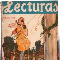 Libros antiguos: LECTURAS, FEBRERO 1928, NOVELAS DE PEDRO MATA, MUÑOZ SECA, ALONSO GÓMEZ, HERNÁNDEZ CATA Y OTROS. Lote 29329318