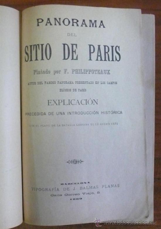 Libros antiguos: PANORAMA DEL SITIO DE PARIS. Explicación precedida de una introducción histórica. PHILIPPOTEAUX, F. - Foto 2 - 29453451