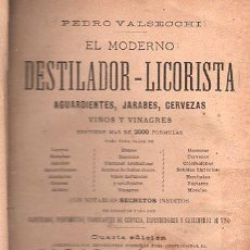 Libros antiguos: PEDRO VALSECCHI, EL MODERNO DESTILADOR-LICORISTA, BARCELONA, MANUEL SAURI, 1888. Lote 29748883