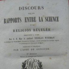Libros antiguos: WISEMAN - DISCOURS SUR LA SCIENCE ET LA RELIGION. Lote 30004887