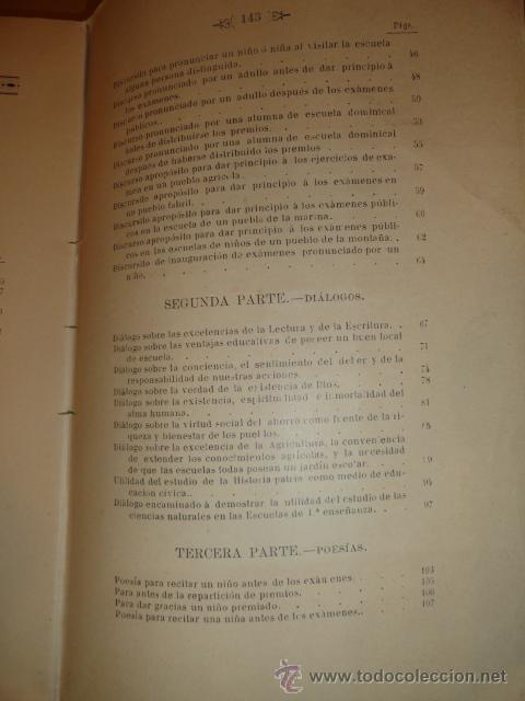 Libros antiguos: LIBRO DE ESCUELA DISCURSOS,DIALOGOS Y POESIAS PARA NIÑOS Y NIÑAS 1901 - Foto 8 - 30055113