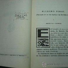 Libros antiguos: LITERATURA,NOVELA ROMANTICA,AVENTURAS Y TEATRO. ALLEGRO FINAL POR PIO BAROJA 1931. Lote 30188674
