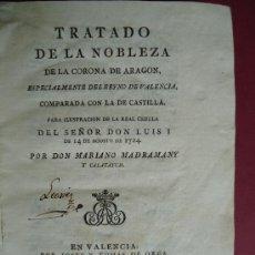 Livros antigos: GENEALOGIA.'TRATADO DE LA NOBLEZA DE LA CORONA DE ARAGON, ESPECIALMENTE DEL REYNO DE VALENCIA 1788. Lote 30198085