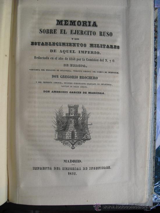 1852 MEMORIA SOBRE EL EJERCITO RUSO Y LOS ESTABLECIMIENTOS MILITARES DE AQUEL IMPERIO (Libros Antiguos, Raros y Curiosos - Ciencias, Manuales y Oficios - Otros)