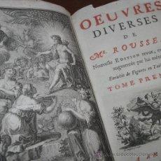 Libros antiguos: OEUVRES DIVERSES DE ROUSSEAU, 1729. CONTIENE CINCO GRABADOS.. Lote 30334548