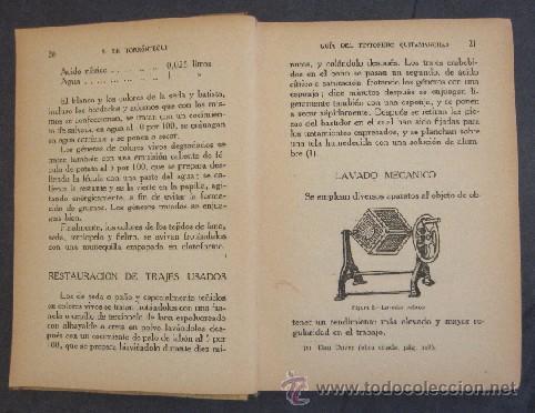 Libros antiguos: GUIA DEL TINTORERO QUITAMANCHAS - AÑO 1930 - Foto 4 - 27220284