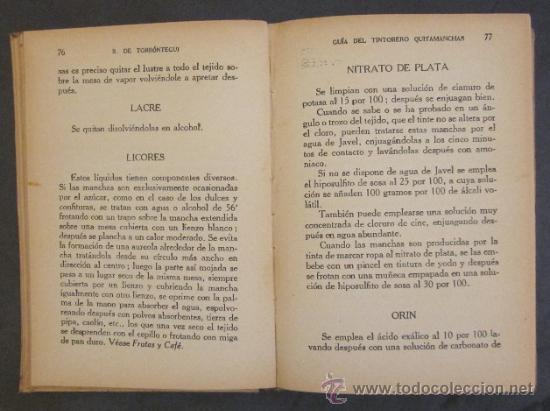 Libros antiguos: GUIA DEL TINTORERO QUITAMANCHAS - AÑO 1930 - Foto 6 - 27220284